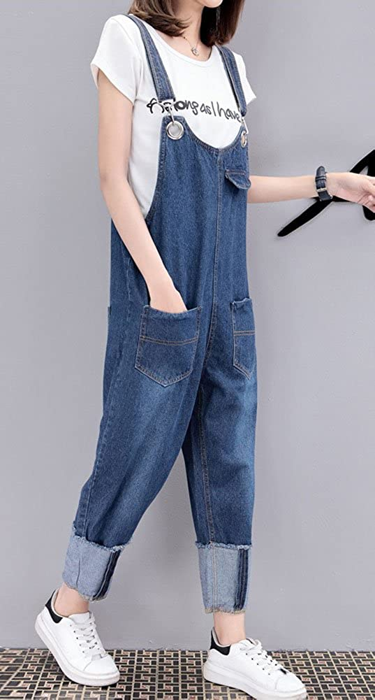 Congcong Womens Loose Denim Cropped Bib Jumpsuit Overalls Plus Size