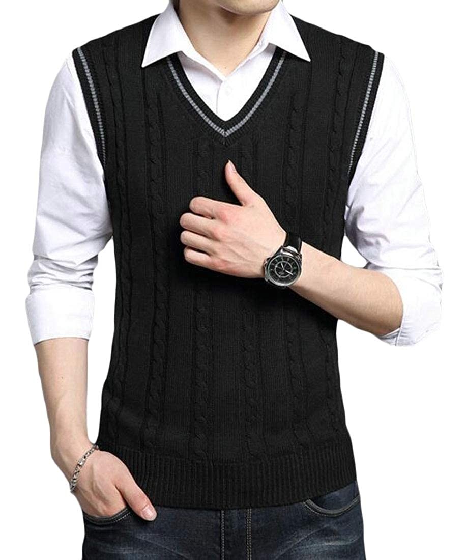 ouxiuli Mens Casual Slim Fit V-Neck Pullover Knitwear Sweater Vest