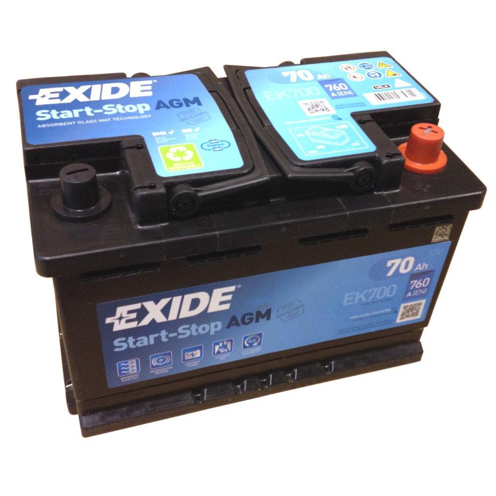 Exide AGM Start Stop Battery EK 700 EN (A): 760 12V 70Ah Newest ...