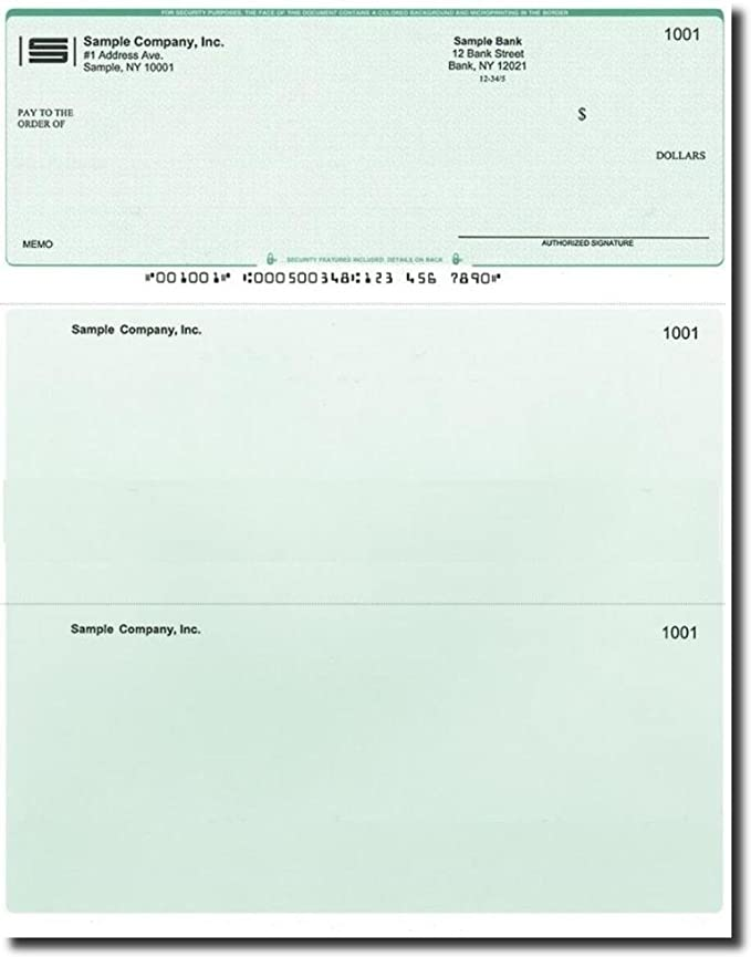 500 Printed Laser Computer Voucher Checks Compatible with Quickbooks -  Green Diamond
