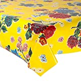 Mexican Floral Oilcloth Table Cover (120 witdth - long by half meters) Model chrysanthemum yellow