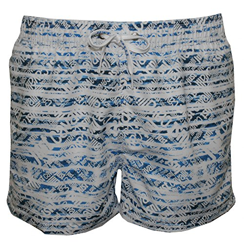 Just Cavalli Allover Logo Print Men's Swim Shorts, White/Denim X-Large White/Denim by Just Cavalli