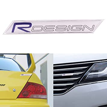 Aluminum r design emblem badge car grille trunk sticker for volvo s60 xc60 v60 c70