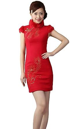 Amazon.com: AvaCostume - Vestido para mujer de lana roja ...