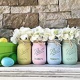 Mason Jar Centerpiece Set, Your Choice of Jar Colors, 3-4-5 piece sets, Pint or Quart Size, Silk Flowers Optional