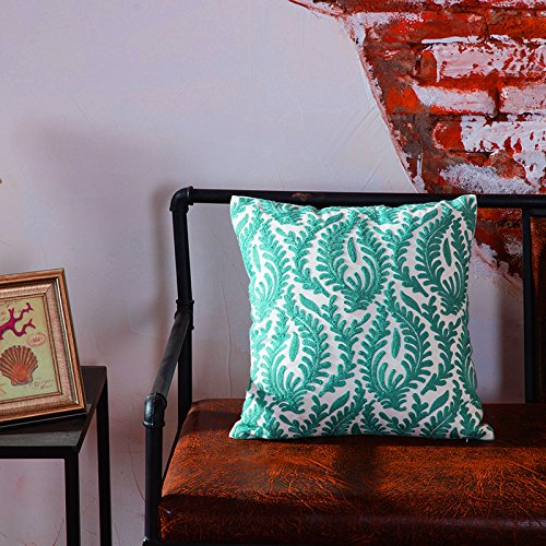 TAOSON Turquoise European Abstract Branches Floral Pattern Cotton Canvas Embroidered Cushion Cover Pillowcase Cushion Shell Home Decor Square with Hidden Zipper Closure Only Cover 18