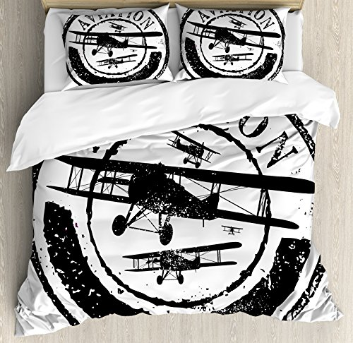Ambesonne Vintage Airplane Duvet Cover Set, Grunge Style Stamp Design with Word Aviation and Airplane Silhouettes, Decorative 3 Piece Bedding Set with 2 Pillow Shams, Queen Size, Black and White