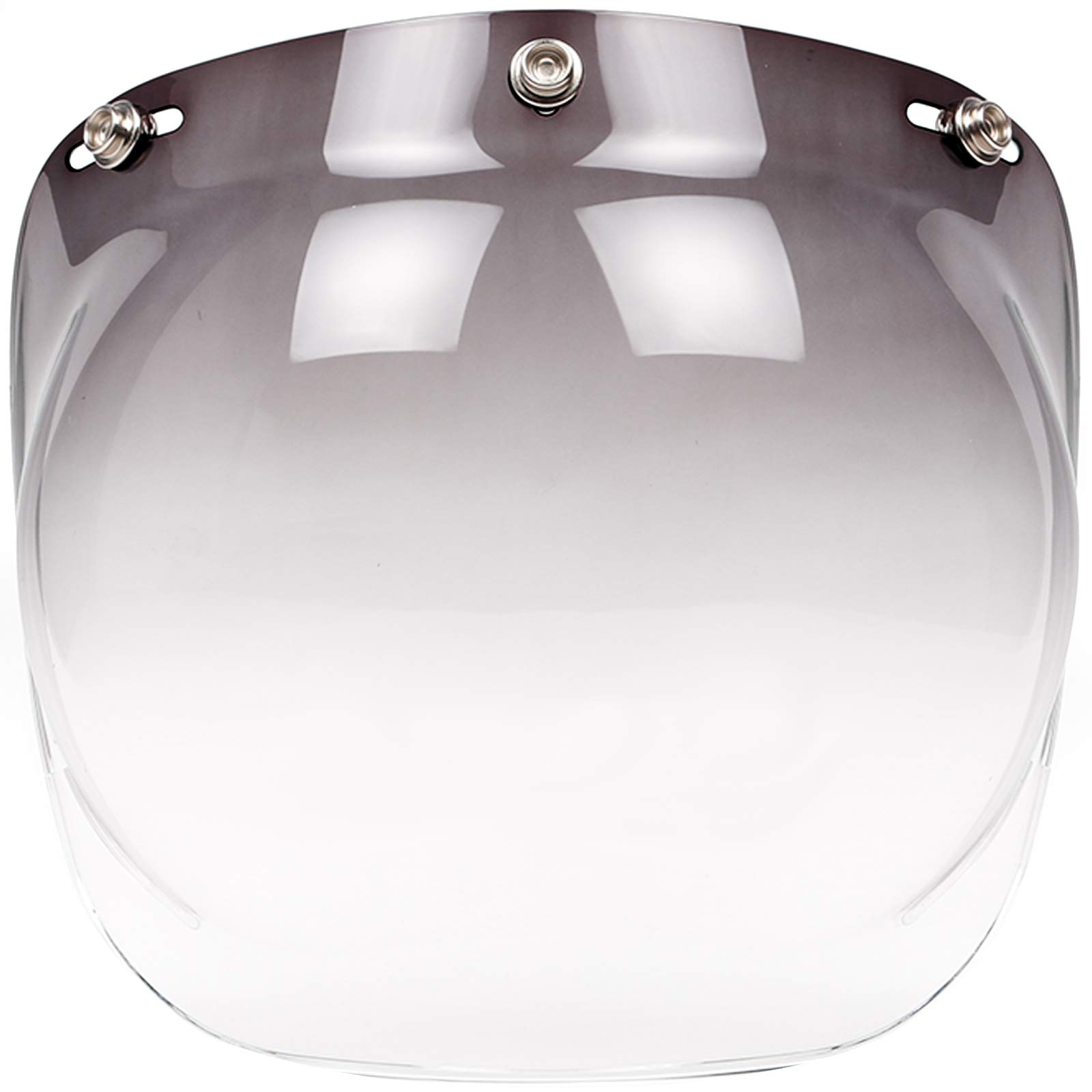Bubble Face Shield Visor for 3-Snap Open Face Helmets (Smoke Gradient)