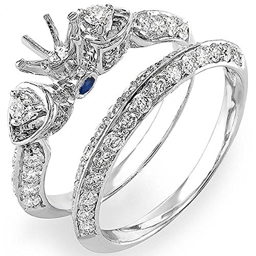 Dazzlingrock Collection 14K Blue Sapphire & White Diamond Semi Mount Bridal Ring Set (No Center Stone), White Gold, Size 7.5