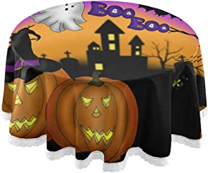 """Pfrewn Halloween Moon Castle Pumpkin Round Tablecloth Witch Trick Or Treat Table Cloth Cover Mat Lace Washable Polyester 60"""" Dining Decorative for Holiday Home Party Wedding Picnic"""