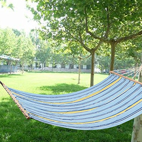 78''x55'' Double Size Hammock Polyester Fabric Heavy Duty Wood Spreader Bar New by Unbranded*