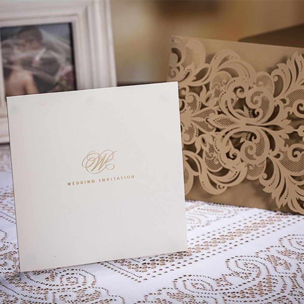Copper Laser Cut Lace Flora Wedding Invitations Elegant Mariage Decoration Wedding Event Cards CW3109 (100) by Wishmade (Image #3)