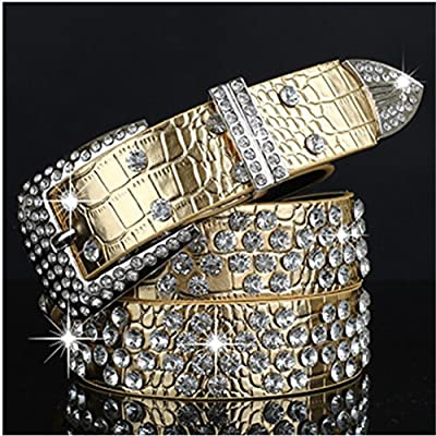 Womens Western Rhinestone Crystal Bling Studded Rodeo Belt