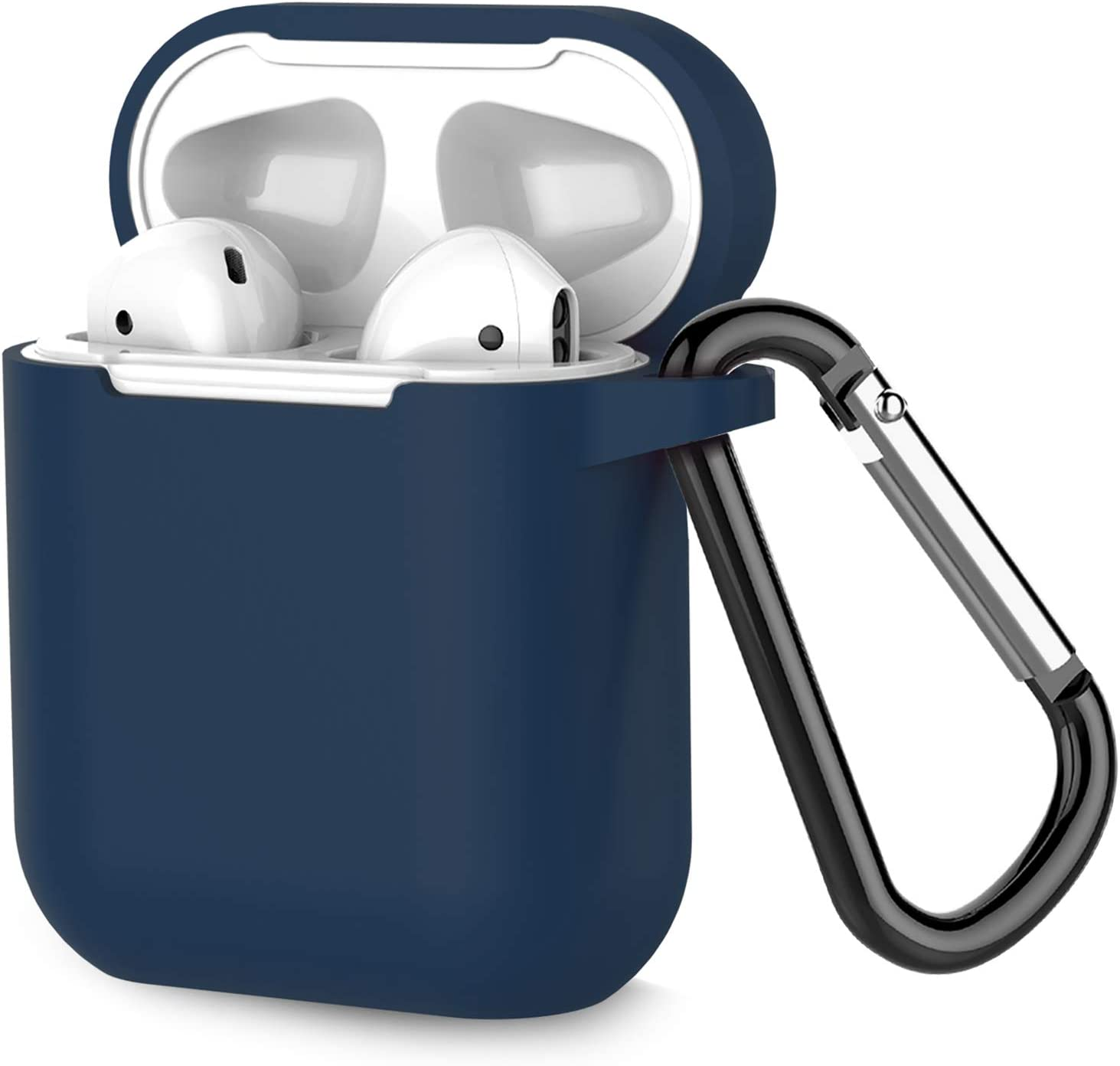 Coffea Protective Silicone Case with Keychain for Apple AirPods 1 & 2 (Front LED Not Visible) (Navy)
