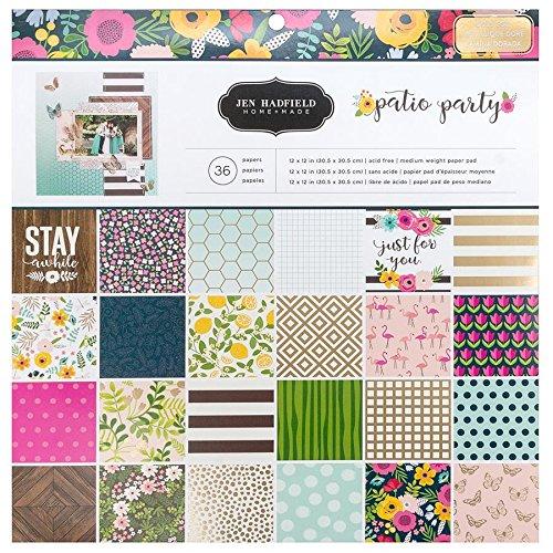 Jen Hadfield 733776 Patio Party 36 Sheet Paper Pad, - 12x12 Pebbles Sheet