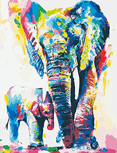 Wowdecor Paint by Numbers Kits for Adults Kids, DIY Number Painting - Colored Elephants Family 40 x 50 cm - New Stamped Canvas (No Frame)