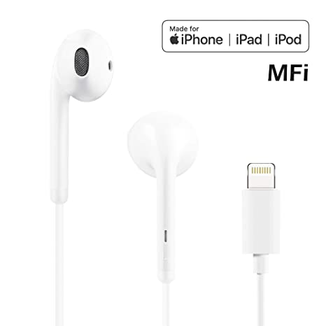 34cdb69a457 POPA Lightning Earbuds, in-Ear Headphones Earphones with Microphone and  Remote, MFi Certified