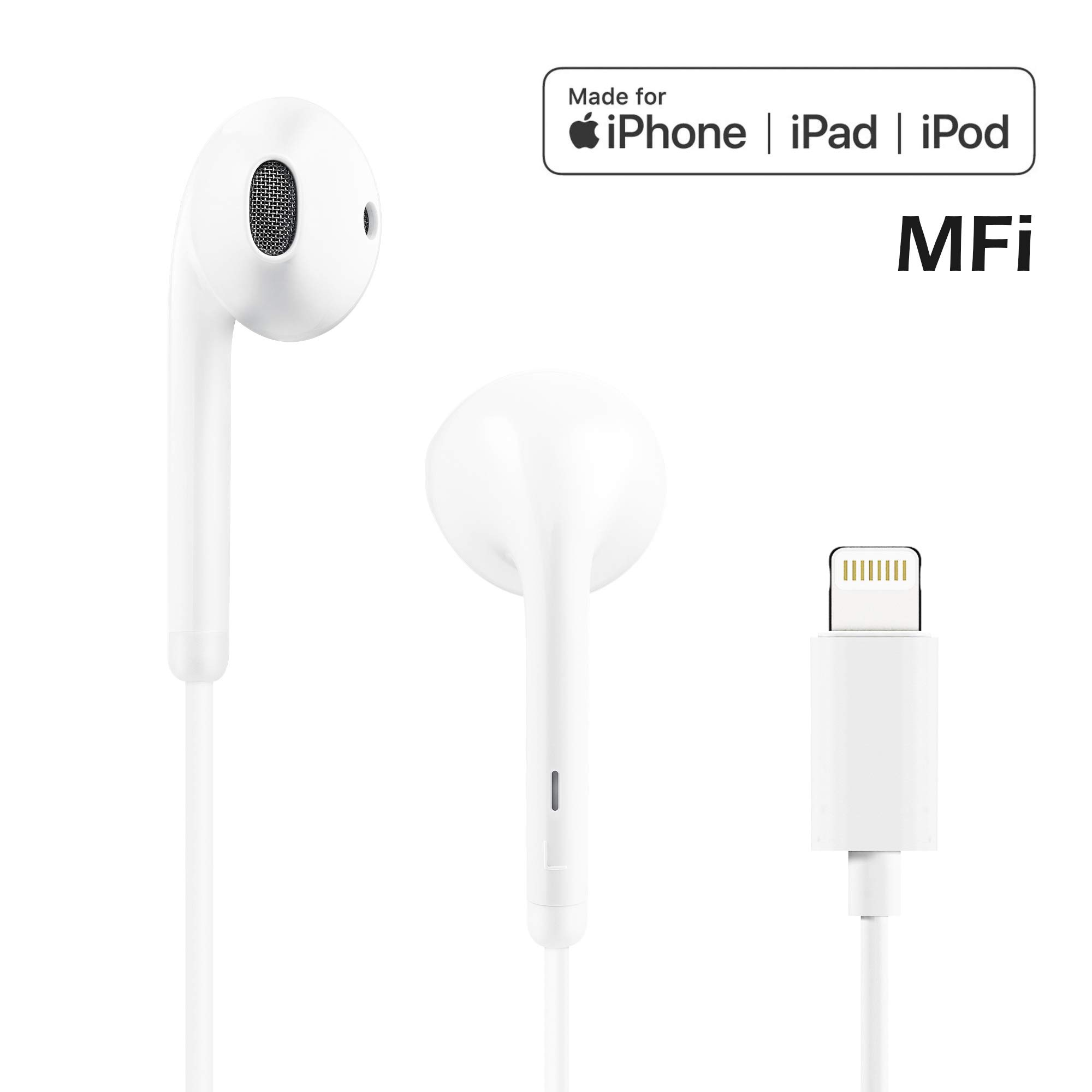 POPA Lightning Earbuds, in-Ear Headphones Earphones with Microphone and Remote, MFi Certified, Compatible with iPhone X/XS/XS MAX/XR/8/8P/7/7P/iPad Pro/iPad Air/iPad Mini/iPod