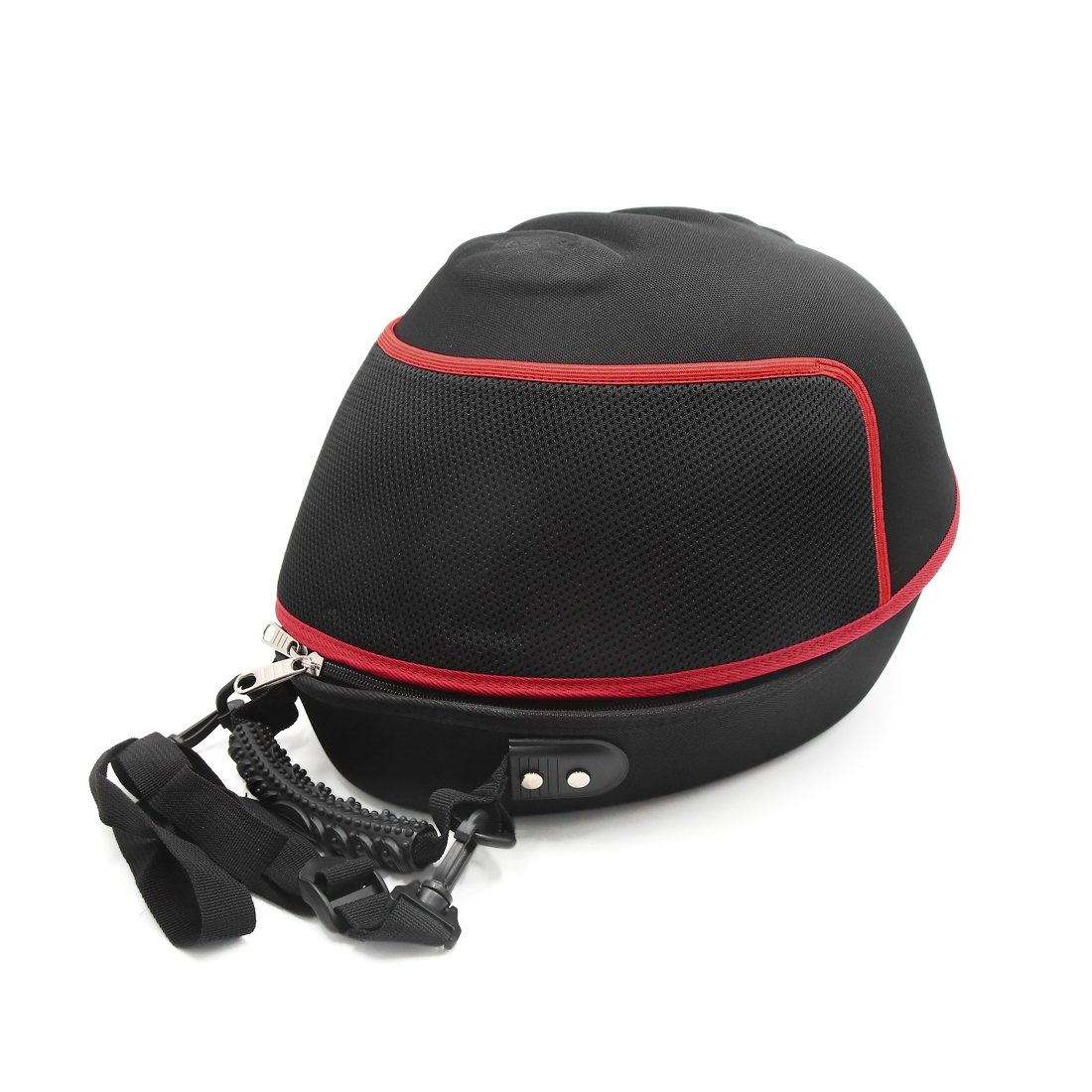 uxcell Black Red Zipper Closure Helmet Case Bag Carrier Holder Backpack for Motorcycle a17082100ux0864