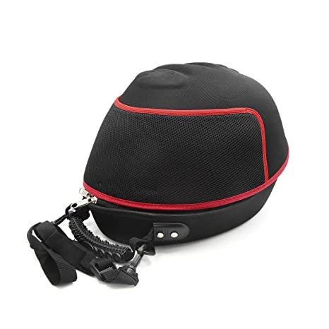 uxcell negro rojo casco de cierre de cremallera funda bolsa Carrier Holder mochila para motocicleta