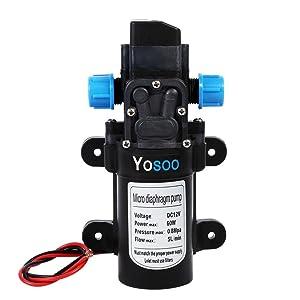 Yosoo Bomba de agua automática de alta presión de Dell para Camper Caravan Boat Truck Garden (DC 12 V 60 W Diafragma, 115PSI) 5L