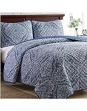 Mellanni Bedspread Coverlet Set Medallion-Blue - Comforter Bedding Cover - Oversized 3-Piece Quilt Set (King/Cal King, Medallion Blue)