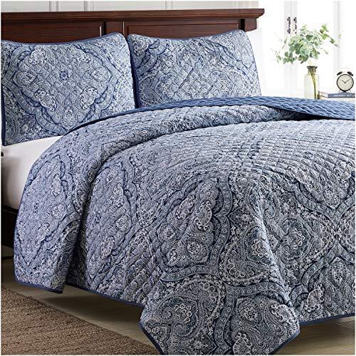 Mellanni Bedspread Coverlet Set Medallion-Blue - Comforter Bedding Cover - Oversized 3-Piece Quilt Set (Full/Queen, Medallion Blue) (Floral And Navy White Bedding)