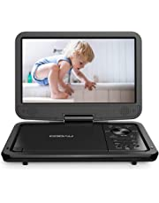 """COOAU 12.5"""" Portable DVD Player, High-Brightness Swivel Screen, Supports All Region, AV-in/AV-out/SD/USB/CD/DVD, 5-Hours Rechargeable Battery, Remote Controller, Black"""