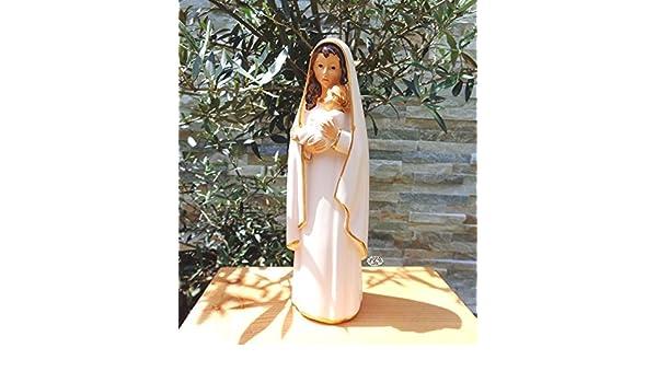 12 - 13 cm árbol - Santa María MADONNA blanco, pequeña madre de Dios con niño, con abrigo blanco/capa, dobladillo colores oro, MADONNA blanca como símbolo ...
