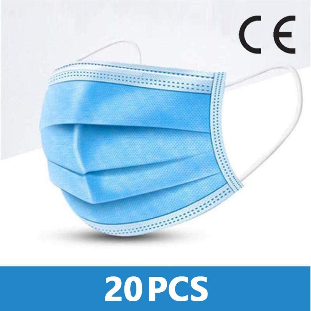WANGBW Blue Prevent Bacteria Filtro de 3 Capas no Tejido desechable Unisex Anti-Dust Proof-20PCS