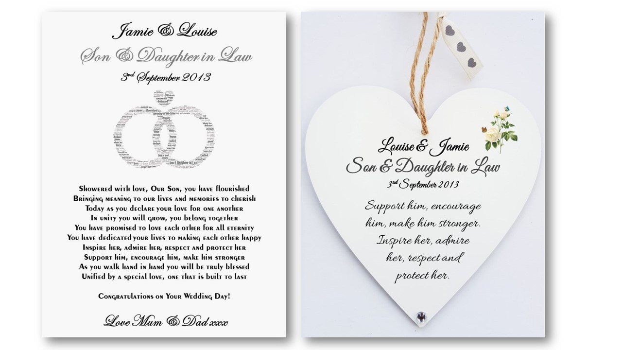 Personalised Son And Daughter In Law Wedding Card Heart Plaque Gift Bride Groom Newlyweds Details Required Amazoncouk Kitchen