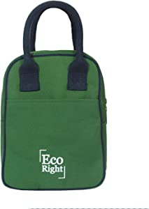 Eco Right Insulated Lunch Bag for Office Men, Women and Kids, Canvas Tiffin Bags for School, Picnic, Work, Carry Bag for Lunch Box   Army Green   0706