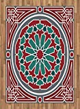 Arabian Area Rug by Lunarable, Oriental Islamic Original Old Style Ornate Persian Pattern with Victorian Artsy, Flat Woven Accent Rug for Living Room Bedroom Dining Room, 5.2 x 7.5 FT, Red Grey Teal