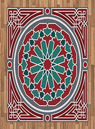 Arabian Area Rug by Lunarable, Oriental Islamic Original Old Style Ornate Persian Pattern with Victorian Artsy, Flat Woven Accent Rug for Living Room Bedroom Dining Room, 5.2 x 7.5 FT, Red Grey Teal by Lunarable