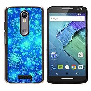 LECELL--Funda protectora / Cubierta / Piel For Motorola MOTO X3 3rd -- Invierno del copo de nieve Blue Sky Chrismas --