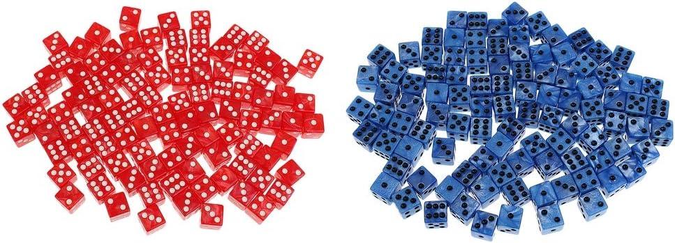 B Blesiya 200pcs Dados 6 Lados 14mm para Juegos de Mesa, Suministros para Fiestas de Entretenimiento, Rojo + Azul: Amazon.es: Juguetes y juegos