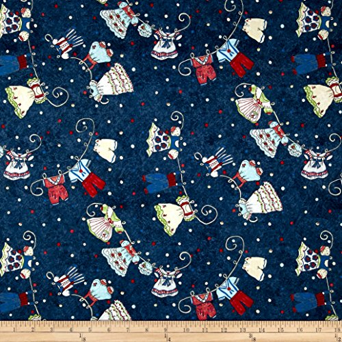 Riverwoods Collection Riverwoods Vintage Vogue Laundry Clothesline Navy Fabric by The ()