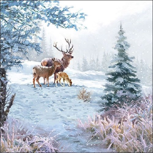4 Paper Napkins for Decoupage - 3-ply, 33 x 33cm - Christmas - Deer Family (4 Individual Napkins for Craft and Napkin Art.) Tigers on the Loose