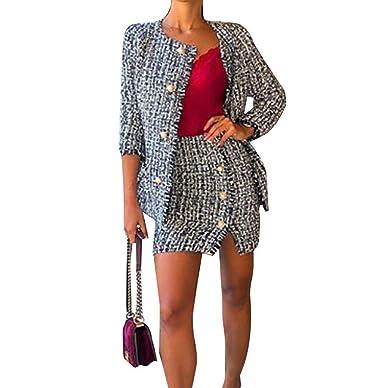Loalirando Tailleur Femme Ensemble Jupe et Veste Costume Sexy Chic Fashion  Manches Longues pour Soirée  3641f431e40e