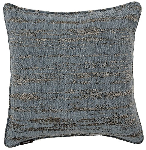 Denim Toss Pillow - McAlister Textured Chenille Filled Decorative Boudoir Pillow | 18x12 Light Denim Blue with Silver Metallic Effect | Retro Rustic Accent Décor