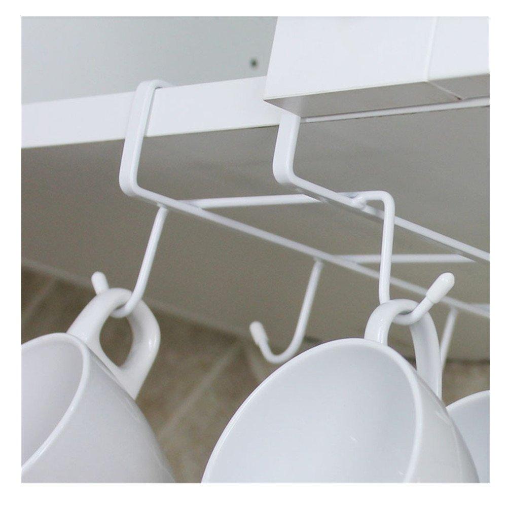 Salvaspazio Soluzione per la casa e la Cucina TRIXES Porta Tazze e Mug con 8 Ganci da Fissare sotto Il ripiano Bianco