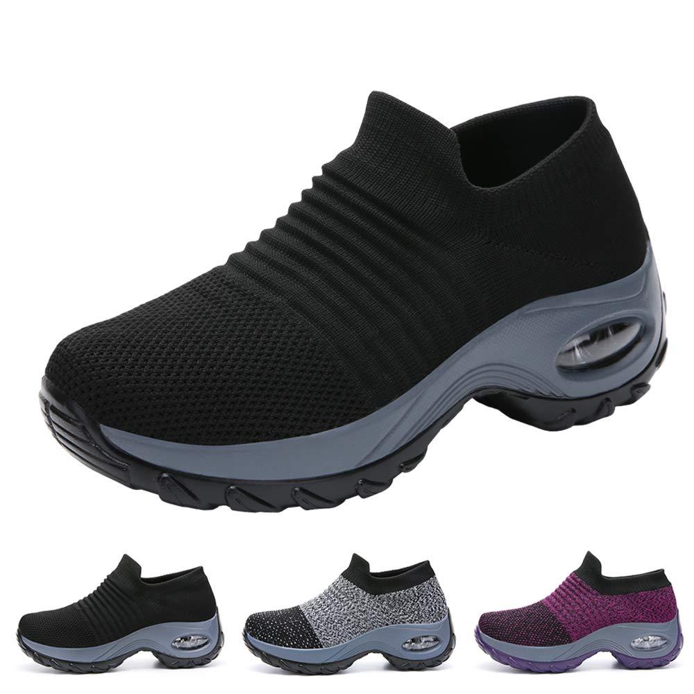 603db00daaf6e Funnie Women's Walking Shoes Sock Slip On Breathe Comfort Mesh Fashion  Sneakers Air Cushion Lady Girls Modern Jazz Dance Shoes Platform Loafers