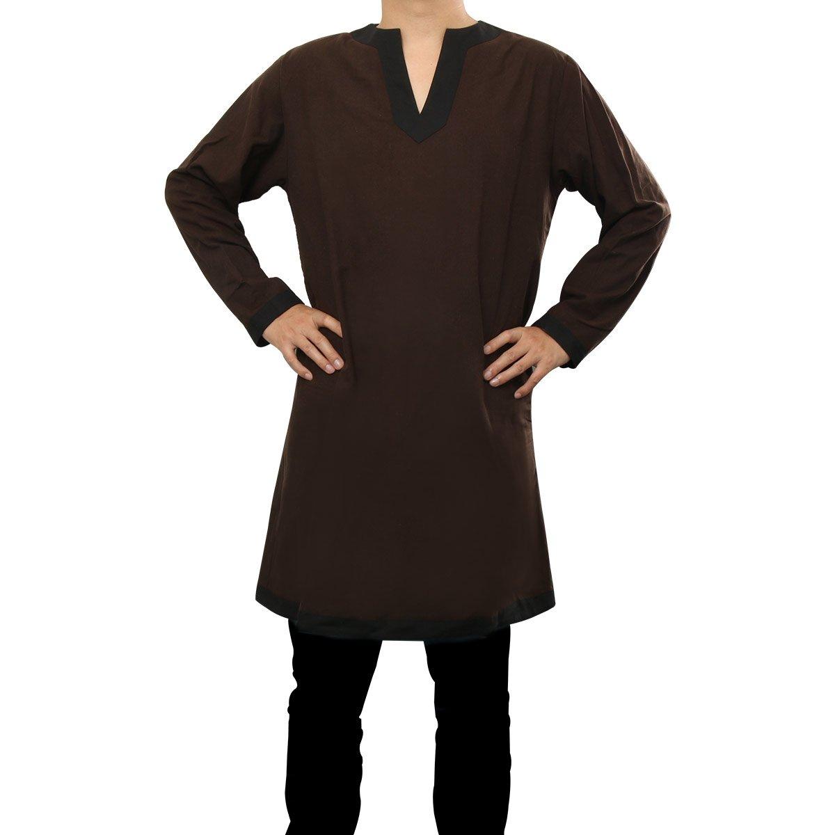 Nofonda Tunica Medievale per Uomo Stile Cavaliere Natale Camicia Elegante Costume Cosplay di Halloween Larp Feste