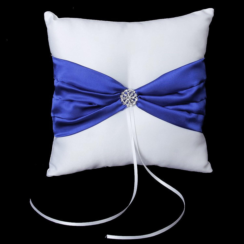 White Satin Bowknot Diamante Wedding Party Pocket Ring Pillow