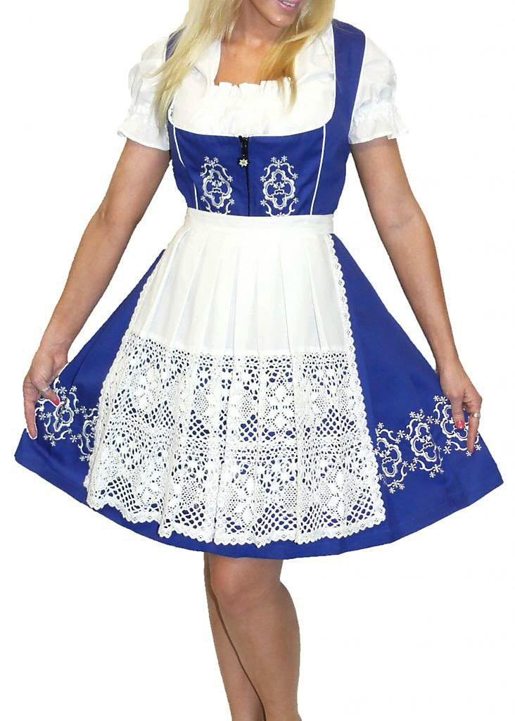 Dirndl Trachten Haus 3-Piece Short German Wear Party Oktoberfest Waitress Dress 24 54 Blue