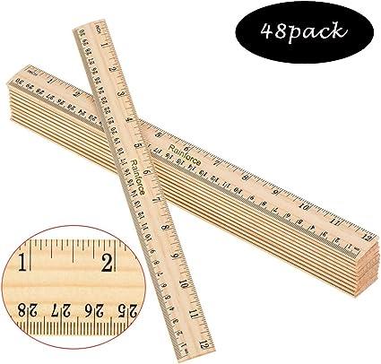 Reglas de madera de 12 pulgadas para estudiantes, regla de madera, paquete de 48: Amazon.es: Oficina y papelería