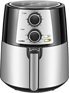 COMFEE' 3.7QT Electric Air Fryer & Oilless Cooker with 8 Menus and Timer & Temperature Control, Nonstick Fry Basket with Stainless Steel Finish, Auto Shut-off, 1400W, BPA & PFOA Free