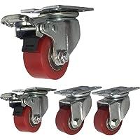 4 Industriële Castor Wielen 40mm/50mm Zware zwenkwielen 1000kg Stille PU Plaat Swivel wielen met rem stalen beugel…