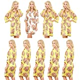 Set of 9 Women's Satin Short Floral Wedding Robes - Bridesmaids Dressing Gown