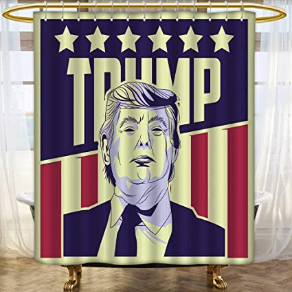Jiahonghome Shower Curtains Digital Printing USA Presidential Election Donald Trump Satin Fabric Bathroom Washable Size